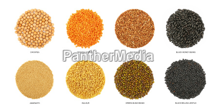 round shaped different cereals isolated on