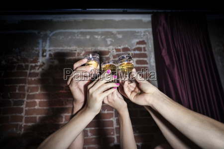 cropped image of friends toasting tequila