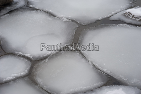 irregular ice floes floating on water