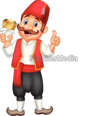 turkish men holding doner kebab