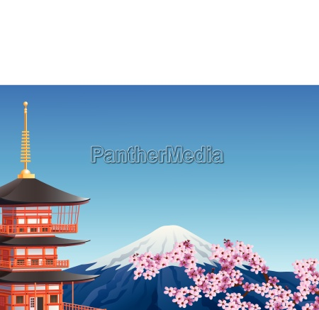 chureito pagoda and mount fuji with