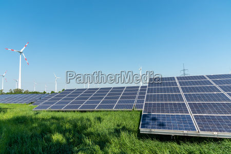 renewable energy production and power lines