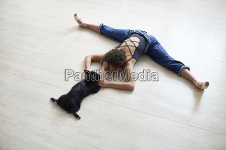 high angle view of woman playing
