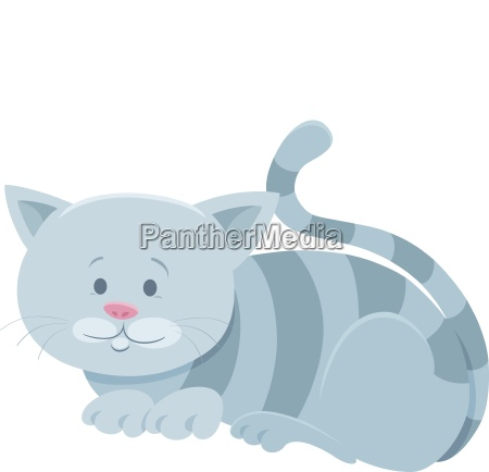 cute gray tabby cat cartoon animal