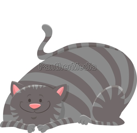 happy tabby cat cartoon animal character