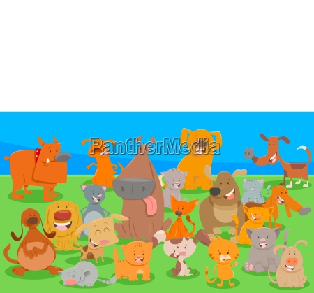 dogs and cats cartoon characters group