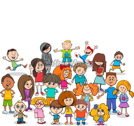 funny children cartoon characters group
