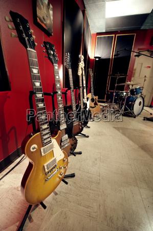 guitars in music studio