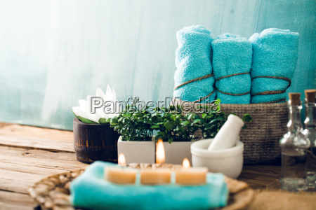 spa setting in blue