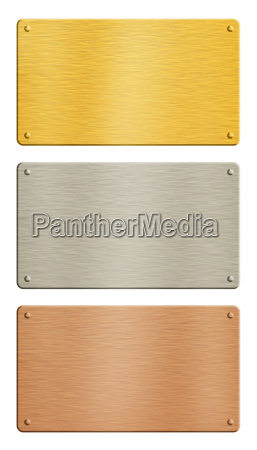 gold silver copper metal plates over