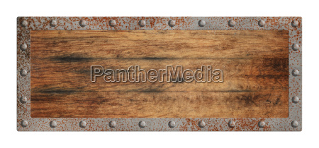 old blank wooden sign with metal