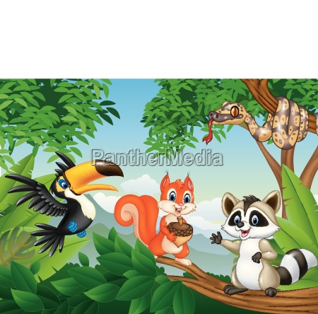 cartoon forest scene with different