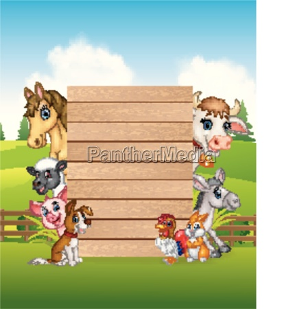 cartoon farm animals holding wooden sign