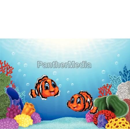 cartoon clown fish with beautiful underwater