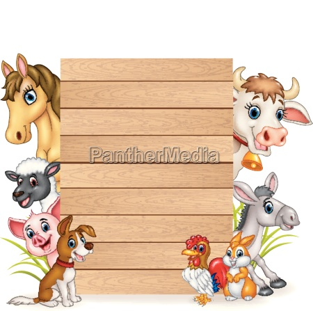 cartoon funny farm animals with wooden