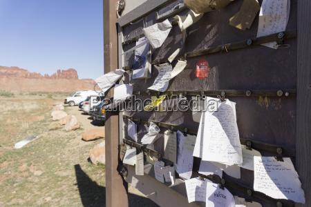outdoor bulletin board moab utah usa