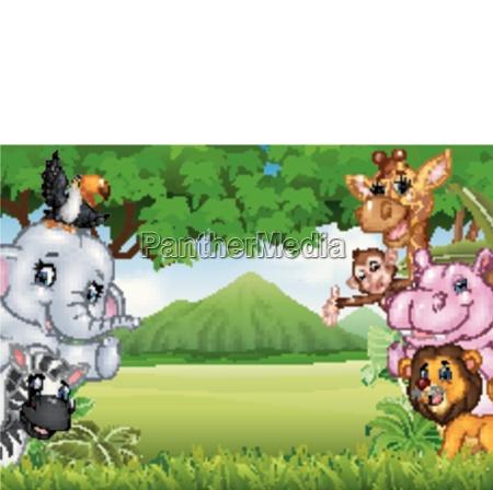 cartoon wild animals with nature landscape