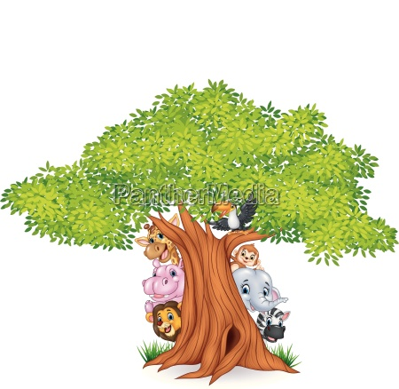 cartoon african animals with tree
