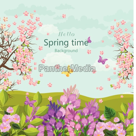 spring time card with flowers vector