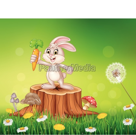cute bunny holding carrot on tree
