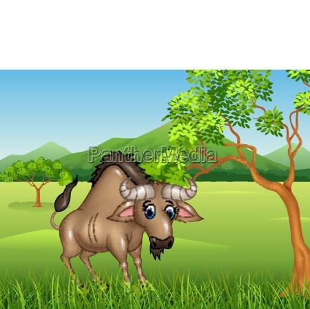 cartoon wildebeest mascot in the jungle