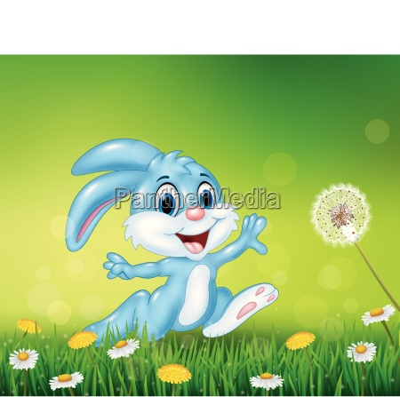 happy little bunny jumping on grass