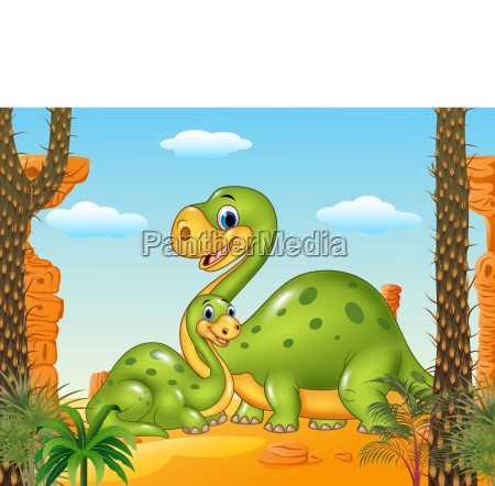 happy mother with baby dinosaur in