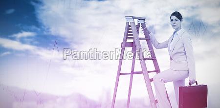 composite image of businesswoman climbing career