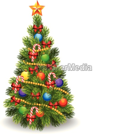 illustration of decorated christmas tree isolated