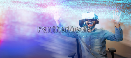 composite image of cheerful man using