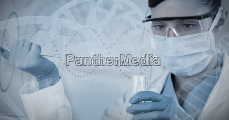 composite image of female scientist holding
