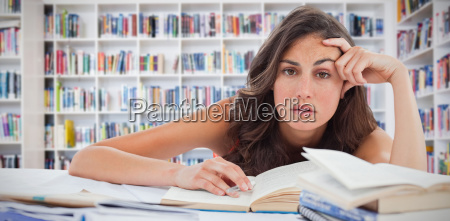 composite image of bored student doing