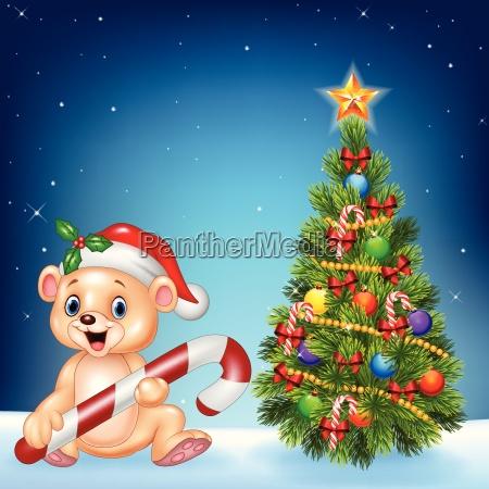cartoon happy bear with christmas tree
