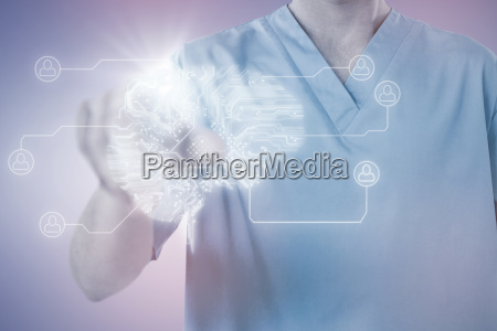 composite image of male nurse touching