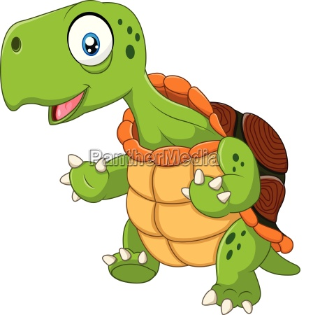 cartoon funny turtle posing isolated on