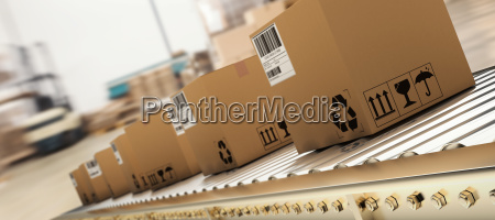 composite image of packed courier on