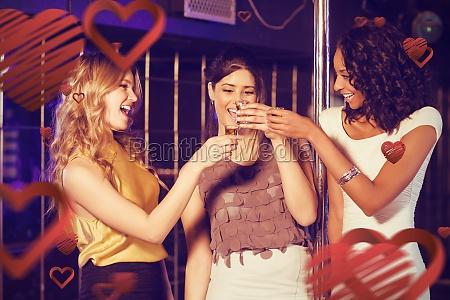 composite image of pretty girls having