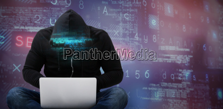 composite image of male hacker using