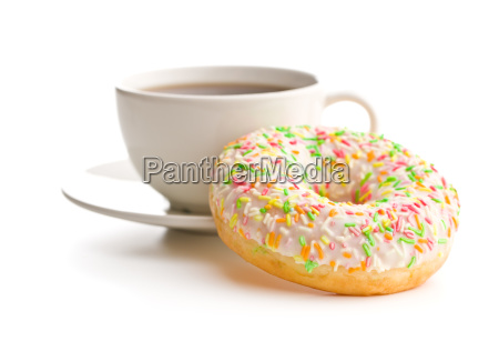 sweet donut and coffee cup
