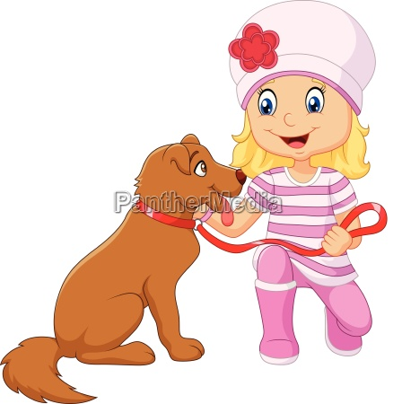 cartoon girl with her dog isolated