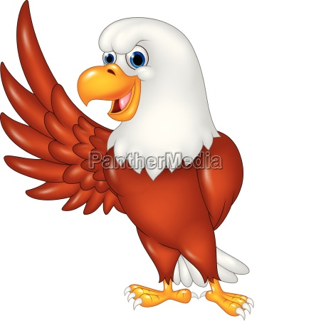 cute eagle cartoon waving isolated on