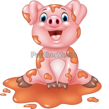 cartoon funny pig sitting in the