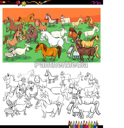 horses and goats characters group color