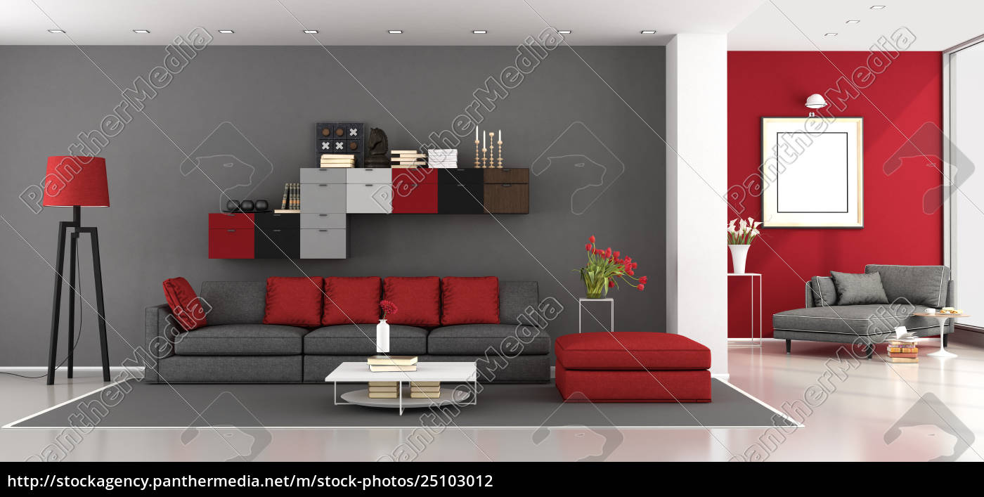 Royalty free photo 25103012 - Red and gray modern living room