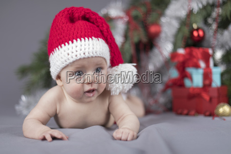 baby, in, christmas, hat - 25105916