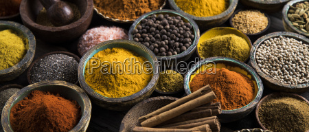 spices, and, herbs, and, wooden, bowl - 25107420
