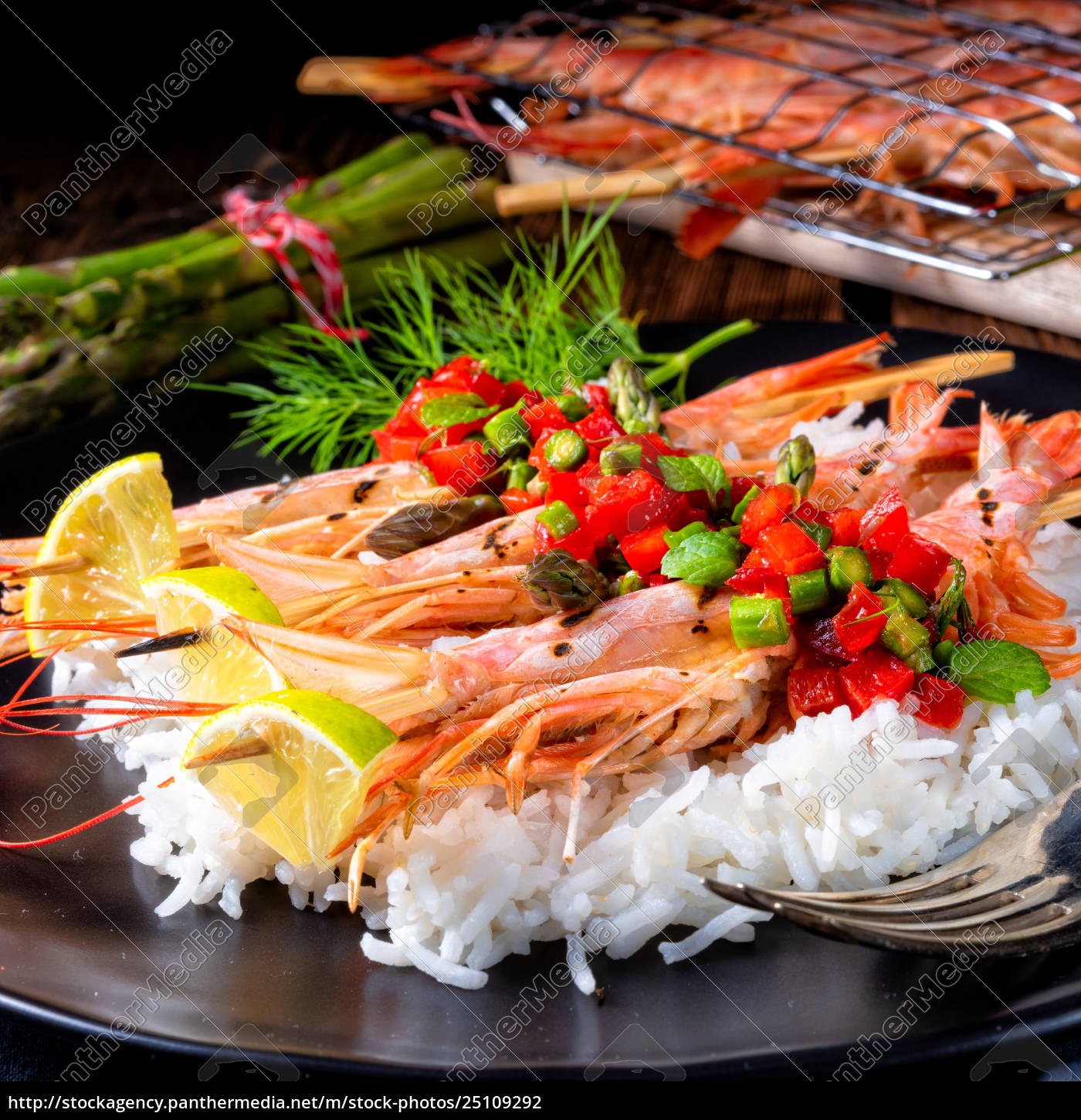 grilled, red, argentine, shrimps, with, red - 25109292