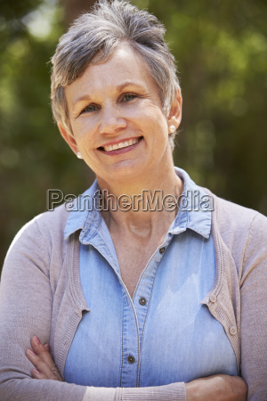 outdoor portrait of mature woman with