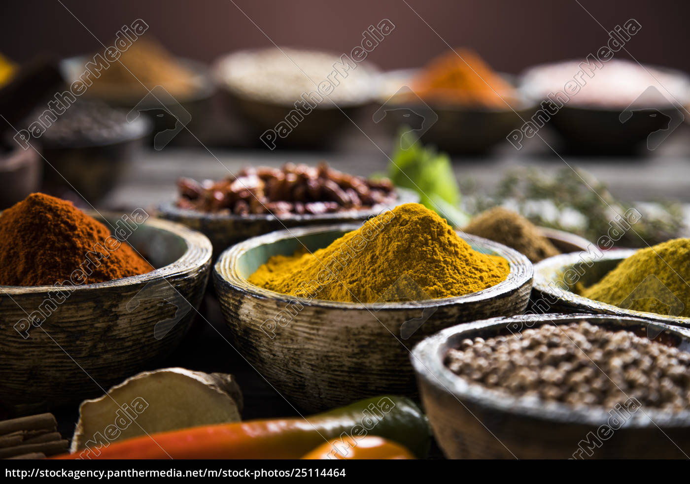 spices, and, herbs, and, wooden, bowl - 25114464