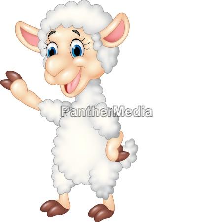cute funny sheep waving hand isolated